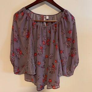 LC Lauren Conrad Boho Style Sheer Blouse Purple M